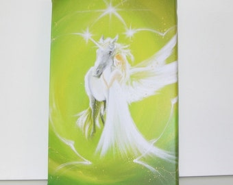 "Unicorn canvas art angel stretched on wooden frame: ""Deep friendship"" , contemporary painting, green artwork"