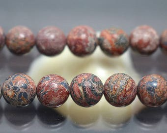 Leopardskin Jasper Beads, Gemstone Round Beads, 15'' Full Strand ( 6 mm 8mm 10mm 12mm )
