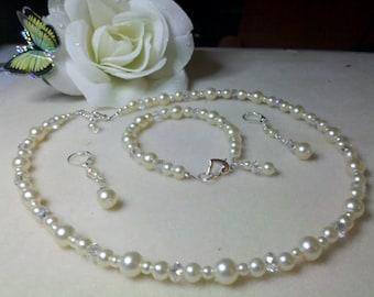 Wedding, pearls, swarovski crystal, necklace set