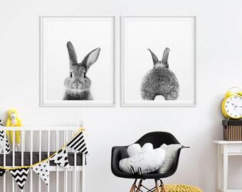 Nursery Wall Art, Bunny Butt, Rabbit Print, Bunny Tail, Nursery Decor, Nursery Animal Art, Baby Animal Prints, Woodland Animals, Printable