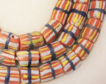 African Striped Beads (10), Krobo Glass Beads, Ethnic Beads, Colorful Beads (A37)