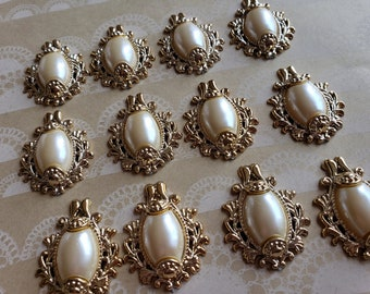 """Gold and Pearl Cabochons - Costume Embellishment Mixed Media - 1 1/2"""" Tall - 1 1/4"""" Wide - Set of 12 Pieces - DESTASH SALE"""