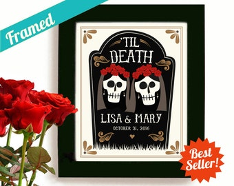 Lesbian Wedding Gift Personalized Art Day of the Dead Gay Marriage for Two Women Newlywed Gift Gay Wedding Gift Print Gay Couple Anniversary