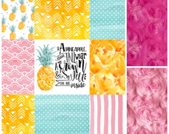 Desinger Minky Faux Patchwork Baby Quilt - Pineapple Baby Blanket - Pineapple Blanket- Baby Blanket - Pinapple Baby - Girl Baby Blanket