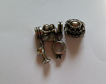 Wedding Theme Charms 4 Pcs  Antiqued Tibetan Silver Fits European Charm Bracelets