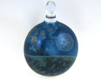Lampwork Glass Pendant with Galaxy Design