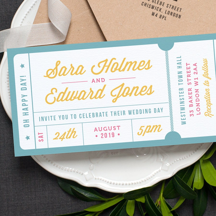Concert or General Admission Ticket Wedding Invitation /