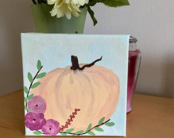 Pumpkin Painting Halloween Decoration - Harvest Decoration Fall Painting - Pumpkin Decoration - Fall Decoration - 6 x 6 Acrylic Painting