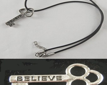 """Believe Mini Key Necklace with 18"""" - 19 1/2"""" Adjustable Black Cord"""