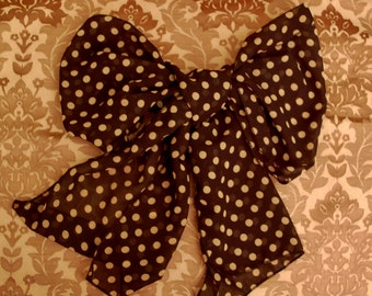 Sepia Polka Dots on Sheer Black ~  Vintage Inspired Scarf ~