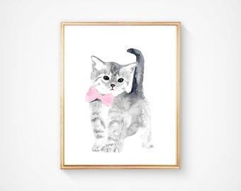 Watercolor cat Art Print - Girl Nursery Art - Pink and Gray - Nursery Decor - Kids Wall Art - Woodlands nursery decor, cat painting