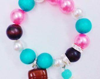Chocolate cheeky shopkin inspired charm bracelet (stretchy)