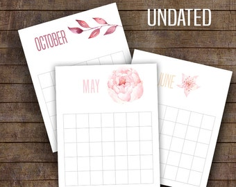 "Undated Calendar, Watercolor flowers calendar, Monthly prints, Printable Calendar, 8"" x 10"" files ~ CU106"