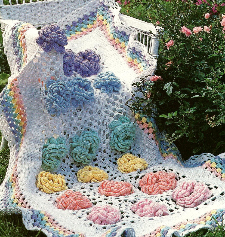 Vintage Crochet Pattern Cabbage Rose Granny Square Flower Afghan ...