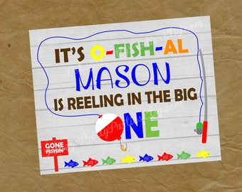 FISHING Birthday Party Poster BANNER - Reel in the Big One Fish First Birthday