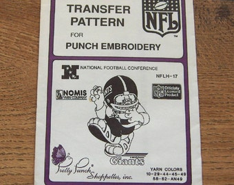 Vintage 80s pretty punch embroidery transfer pattern NFLH-17  Giants NFL  pkg sealed nip unused