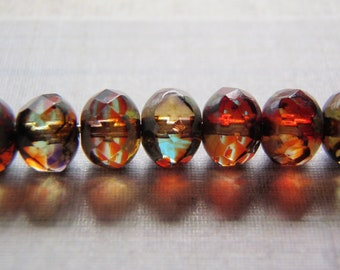 Red and Yellow Beads 7x5mm Rondelle Picasso Finish 10 Beads