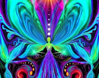 "Rainbow Angel Art, Psychedelic Chakra Art Print  ""Vibrance"""