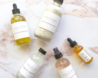 New Facial Cleansing Oil Included/Natural Skincare set/Anti-aging/Gift/Natural Skincare/Makeup Remover/Cleanser/Toner/Serum/Rosewater