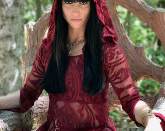 "LAST ONE: The Original ""Red Queen"" Tunic Dress with Hood by Opal Moon Designs (size M)"