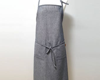 Stripe Linen Apron - gray navy