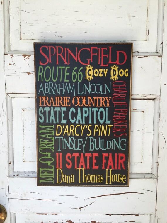 Springfield Illinois Typography Decor Art on Wood, Capitol of Illinois, City Art, Midwest Art, Illinois Decor, Illinois Art, IL City Decor