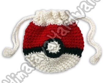 Pokemon Pouch: coin purse dice red white ball japan anime pokeball case bag drawstring