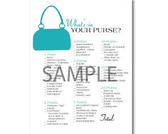 Turquoise Blue Bridal Shower Game: What's in Your Purse?
