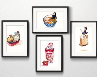 Set Of 4 Studio Ghibli Watercolor Kitchen Art Prints Set