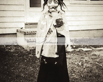 Printable Art Download - Creepy Witch Halloween Scary Costume Vintage Antique Halloween Photograph - Paper Crafts Altered Art Scrapbooking