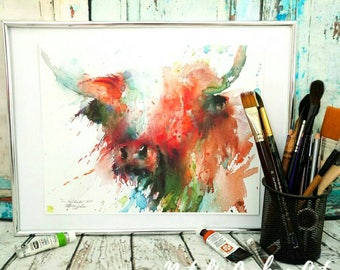 Highland cow limited edition giclee watercolour painting print, Wall Art, Home Decor, watercolour gift idea, cows cattle farm animals