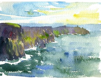 Cliffs of Moher- limited edition Ireland print, signed and numbered, inkjet giclee on watercolor paper