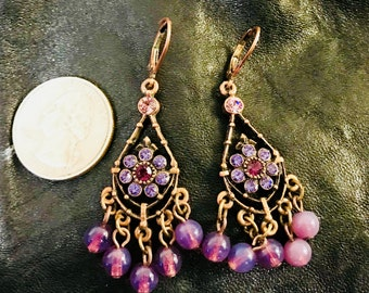 Stunning Violet Purple Chandelier Rhinestone Earrings With Copper Bronze Tone Metal