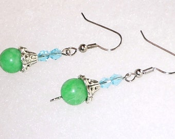 Earrings - Green - Aqua - Silver Tone - Dangle - Handmade
