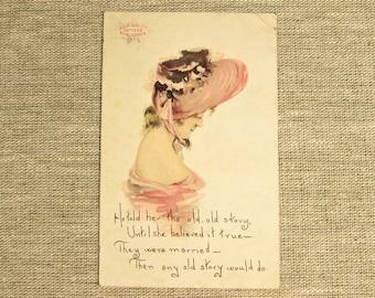 Pink Lady Poem Postcard - Vintage Bour Quality Coffee Royal Garden Teas