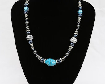 One off design. Chunky black/turquoise blue beads, magnetic clasp, UK shop
