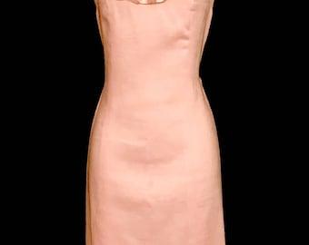 60's Soft Pink  Linen Shift             LV0019