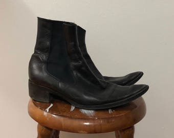 Vintage women's black leather pointed toe chelsea boots leather ankle boots 39.5