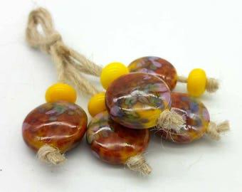 Lampwork glass beads handmade Beads supplies jewelry Beads for jewelry making Set beads Beads SRA Murano beads Beads yellow, red, purple.