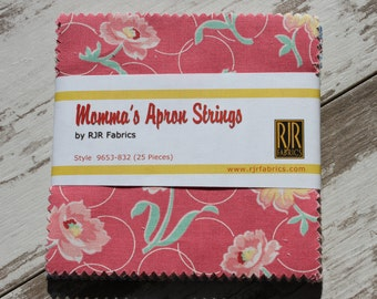 """Momma's Apron Strings 5"""" Fabric Squares by RJR Fabrics 25 Piece Charm Pack 1930s Repro Prints"""