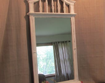 Ornate Wall Mirror, Large White Mirror, Entry Decor, Bathroom Mirror, Cottage Chic, French Country, Beach Cottage,  White Distressed,