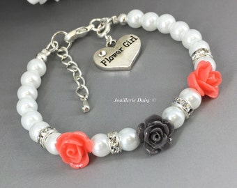 Flower Girl Jewelry Flower Girl Gift Flower Girl Bracelet Coral Flower Bracelet Coral Gray Peach Charcoal Gift for Her Wedding 2018