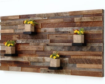 """Wood wall art  with wood shelves 48""""x24""""x5"""" made of reclaimed barnwood, Large wall art, Large art, wood wall sculpture"""