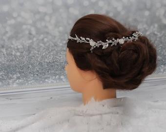 long bridal hair vine wedding hair piece crystal hair vine pearl hair vine bridal hair piece hairpiece wedding crystal bridal headpiece clea