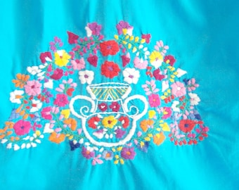 Mexican Dress, Turquoise, Embroidered, Child, Cinco de Mayo, est. size 6