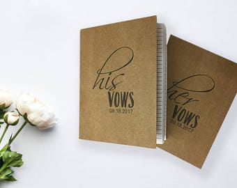 His and Her Vow Booklets for Your Wedding Day Kraft or White