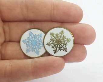 Vintage Snowflake Enamel Lapel Pins - Available in 2 Colors (Limited Quantities) - Christmas Lapel Pin - Snowflake Pin - Winter Accessory