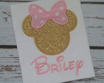 Personalized Monogrammed Girls Shirt or Bodysuit with Name - Minnie Mouse and Disney Inspired - Pink and Gold Glitter - Perfect for Birthday