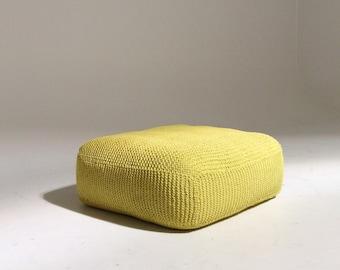 Handmade Knitted Floor Cushion   Custard (Yellow)   70x70x30cm   Hand Knit Floor Pillow Pouf Ottoman Footstool