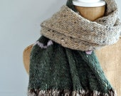 Bulky, Wide, Draped, Wrapping, Scarf, Handspun Yarn, Handknit Knit Scarf, Wool, Soft, Beige and Bits of Color, Yospun